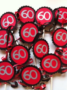 60th Birthday Decorations Cupcake Toppers by FromBeths on Etsy