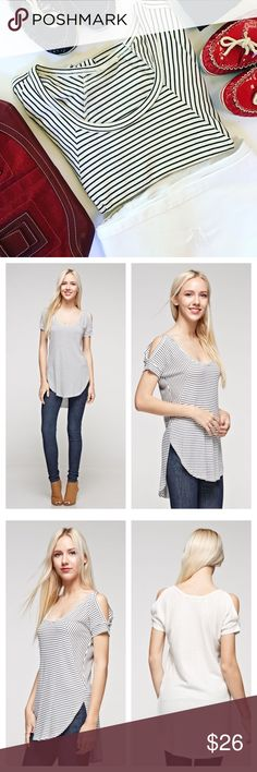 """🆕Cold Shoulder Hi/Lo Thermal THE PARTICULARS  • Loose fit • 95% Rayon / 5% Spandex • Made in USA  Small:  Up to size 4 Medium:  Sizes 6-8 Large:  Sizes 10-12 XLarge:  Sizes 12-14  Sizes are approximate.  Fit varies based on build.  🎯 PURSE sold separately   🛍 Please use Self Checkout (""""Buy Now"""") or """"Add to Bundle"""" feature to purchase NaniMone's Boutique Tops"""