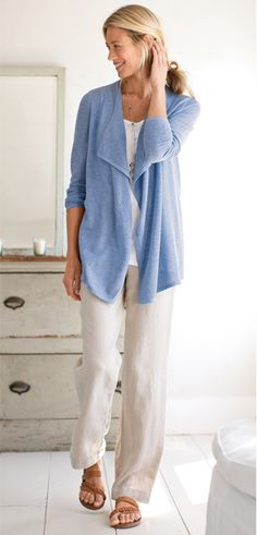 Open-stitch draped cardigan, easy a-line tank, and easy linen flat-front pants