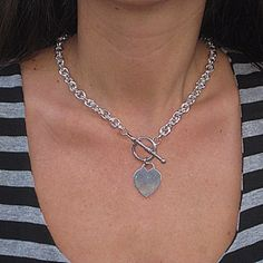 Silver Heart Charm Free Shipping Silver Oval Links with T Lock