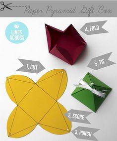 Embalagem em forma de pirâmide  Via: https://www.facebook.com/ReciclagemJardinagemEDecoracao