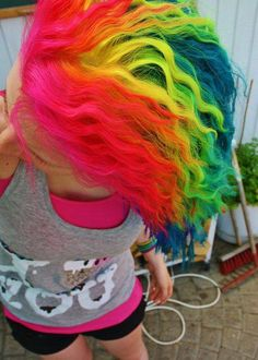epic colorful neon rainbow hair wavy pink red orange yellow green blue