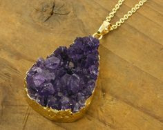 Purple Druzy Necklace Amethyst Druzy Necklace by CharleneSevier