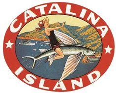 Santa Catalina Island CA Vintage 1950s Style California Travel Decal Label | eBay
