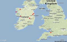 """Tripline map for Summer 2014 appearances, including the new show, """"The Man from Moogaga!"""" Football, music and mayhem collide in this comic tale of jigs, reels, raggle-taggle and growing up in rural West of Ireland. The show focuses on the life and adventures of a young man from Moogaga who, despite having a natural talent for music, has only one goal: to play Gaelic football for his town. Football Music, Blackpool, Isle Of Man, Exeter, Nottingham, Southampton, New Shows, The Life, Young Man"""