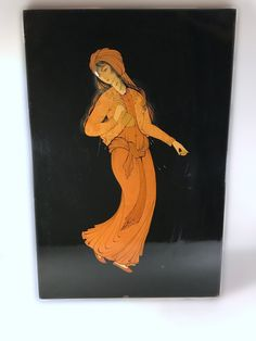 Russian Lacquer Art Wall Hanging - Russian Lacquer Painting of Woman - Black Lacquer Wood Panel by VintageVybe on Etsy