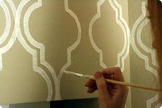 DIY stenciled wallpaper - idea for the pantry? laundry room? via http://jonesdesigncompany.com/decorate/painted-wallpaper-a-tutorial/