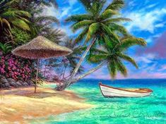 "Tropical Painting, Paradise Canvas Art, Beach Large Painting, Palm Tree Art Canvas Wall Art, Ocean Art ""Drift Away"" by Chuck Seascape Paintings, Landscape Paintings, Fine Art Amerika, Caribbean Art, Beach Artwork, Tropical Art, Sand Art, Ocean Art, Canvas Art"