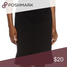 TAHARI Black Pleated Bottom Pencil Skirt TAHARI ASL Petite Black Pleated Bottom Pencil Skirt 2P Dry Clean Only Knee Length Work Attire Dress Up Tahari Skirts Pencil