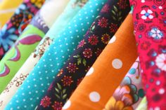 Colorful fabrics, http://quiltingstories.blogspot.com/