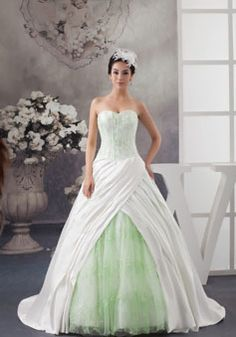 Ball Gown Zipper White Green Lace Beading Wedding Dress Picture 1