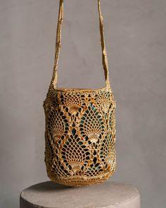 Crochet Market Bag, Gold Pineapple, Pineapple Pattern, African Print Fashion, Micro Macrame, Metallic Thread, Cute Bags, Leather Craft, Bucket Bag