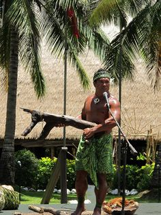 Polynesian Cultural Center in Hawaii. This guy is one of the people who teach you about the cultures from the different islands, and he is from Samoa, and he's HILARIOUS!!! I laughed so hard I cried!