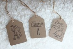 10 Pre-strung Brown Kraft Paper Jungle/Zoo Themed Baby Shower Favor Thank You Tags (Monkeys & Lions)
