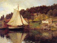 Hans Gude Fra Sandvika, National Gallery of Norway, Oslo Cool Landscapes, Landscape Paintings, List Of Paintings, National Art, Soul Art, Romanticism, Beautiful Paintings, Dahlia, Sailing