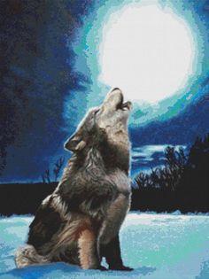 Wolf cross stitch art by April Rafko Solo cross by GeckoRouge