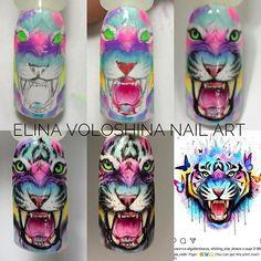 - Gemini Nails and Makeup - Dekoration 3d Nail Art, Galaxy Nail Art, Animal Nail Art, Cute Nail Art, Peach Nails, Purple Nails, Beautiful Nail Designs, Beautiful Nail Art, Nail Swag