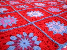 Gorgeous Bluebells Crochet Granny Square Blanket by Thesunroomuk