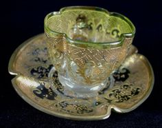 213: Moser demitasse C & S, green with lots of gold. : Lot 213