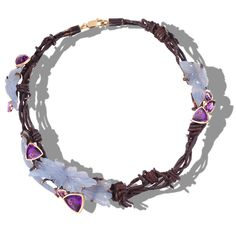 Necklace | Thierry Vendome.  'Jardin Sauvage/Savage Garden'.  Yellow gold, amethyst, chalcedony, and rusted wire