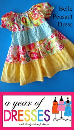 Tie Dye Diva Patterns: A Year of Dresses: Belle Peasant Dress