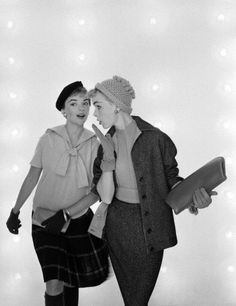"""""""Two young female models pose, one in a kilt the other in a tweed outfit in an advertisement for midwestern US fashion house Gay Gibson."""" #vintage #fashion #1950s"""