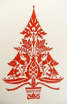 Christmas tree . Scherenschnitte :: German papercutting . red . vintage
