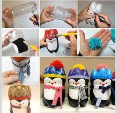 Pop bottle penguins! Cute winter crafts