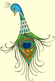 Peacock with a heart art illustration