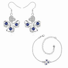 Free Shipping  Trendy silver-plated jewelry sets Quatrefoil Rhinestone Earrings +Anklet  fashion jewelry