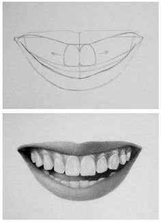 Pencil Portrait Mastery - How to draw teeth - Discover The Secrets Of Drawing Re. Pencil Portrait Mastery – How to draw teeth – Discover The Secrets Of Drawing Realistic Pencil Drawing Tips, Drawing Sketches, Painting & Drawing, Drawing Ideas, Sketching, Drawing Drawing, Figure Drawing, Drawing Techniques Pencil, Learn Drawing