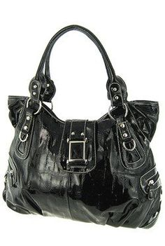 Roomy Solid Black Embossed Croc Shoulder Purse « Clothing Impulse