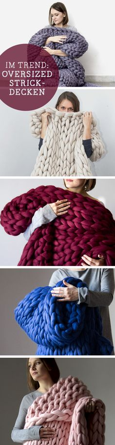 Strick im Trend: Kuschelige Decken in Übergröße / knitting trend: oversized blankets, home decor made by bloisem via DaWanda.com