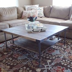 Classic Coffee Table, Industrial Table, Rustic Coffee Table, Repurposed, Rustic Furniture, Steel Pipe Table, Accent Table, Made in Michigan!
