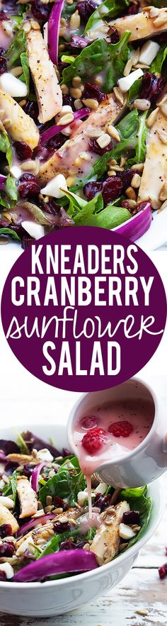Amazing copycat recipe for Kneader's Cranberry Sunflower Salad! | Creme de la Crumb