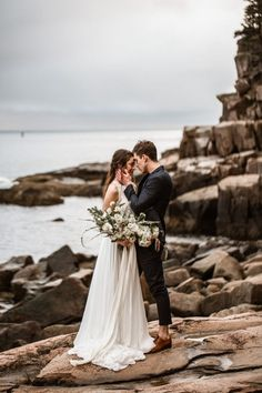 Find all of the adventure wedding inspiration you need with this Acadia National Park elopement inspiration session in Bar Harbor, Maine! Beach Wedding Decorations, Beach Weddings, Small Weddings, Destination Weddings, Wedding Ideas, Wedding Beach, Nautical Wedding, Forest Wedding, Wedding Poses