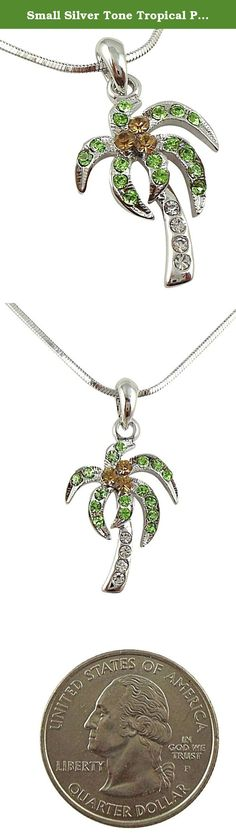 Small Silver Tone Tropical Palm/Coconut Tree Necklace with Clear, Light Brown, and Green Crystals. Jewelry by Glamour Girl Gifts products will arrive to you in either a gift box, organza jewelry bag, satin jewelry bag or velvet jewelry bag.