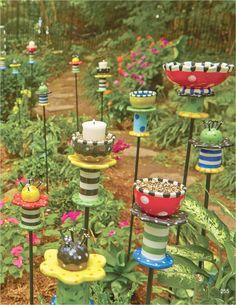 23 Amazing Whimsical Garden Ideas - OnDIYiDeas - 42 Amazing Whimsical Garden Ideas 27 Whimsical Garden Stakes 8 The Effective Pictures We Offer You - Garden Totems, Glass Garden Art, Garden Stakes, Garden Paths, Garden Landscaping, Landscaping Ideas, Unique Garden, Diy Garden, Garden Crafts