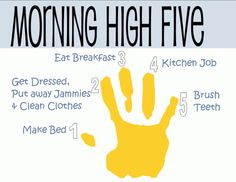 Morning High Five - easy guide for chores in the morning