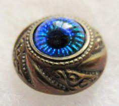 Stellar Antique 19th C Metal Waistcoat BUTTON w/ Foiled GLASS Peacock Eye Insert