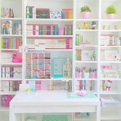 Beautifully filled pastel craft room and office VSCO Room Ideas Beautifully Craft filled office pastel room Cute Room Ideas, Cute Room Decor, Study Room Decor, Bedroom Decor, Craft Closet Organization, Craft Room Storage, Organizing, Stationary Organization, School Organization