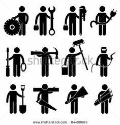 Engineer Mechanic Plumber Electrician Wireman Carpenter Painter Welder  Construction Architect Job Occupation Sign Pictogram Symbol Icon Stock  Vector ...