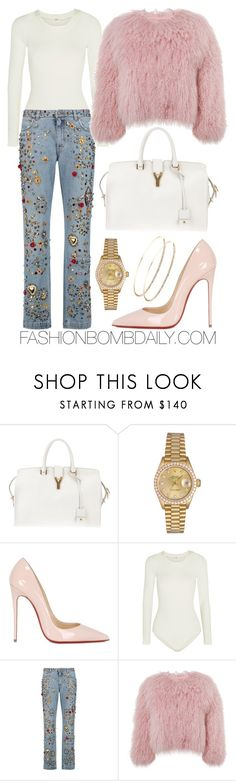 """""""Untitled #1994"""" by dnicoleg ❤ liked on Polyvore featuring Yves Saint Laurent, Rolex, Christian Louboutin, Wolford, Dolce&Gabbana and Charlotte Simone"""