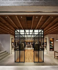 Mels weekly Retail fix - Traditional Weatherwear, Flagship Sote, Aoyama. Shop Interior Design, Retail Design, Store Design, Showroom Design, Glass Cube, Wooden Ceilings, Retail Interior, Shop Front Design, Design Blogs