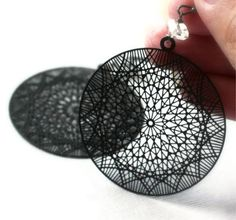 Laser Cut Earrings Herkimer Diamond Jewelry Jet Black Earrings Modern Fashion, Spinning Web on Etsy, Sold