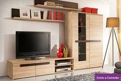 Mueble de salón: Atractiva composición de mueble de salón en Roble Deskontalia Productos - Descuentos del 70%