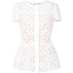 Oscar de la Renta floral lace blouse (8.555 RON) ❤ liked on Polyvore featuring tops, blouses, white, lacy white blouse, white floral top, flower print blouse, lace blouse and white top