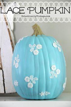 Lace Pumpkin Tutorial #12monthsofmartha #marthastewartcrafts eclecticallyvintage.com
