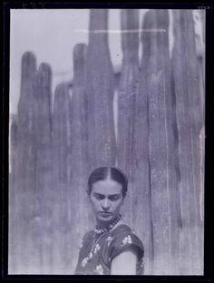 """Frida Kahlo with cacti"" by photographer Martin Munkacsi / Mexico City, 1933 /  Museum of the International Center of Photography"