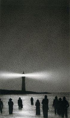 Leuchtturm (Lighthouse) by Quint Buchholz 1987 Aesthetic Art, Aesthetic Pictures, Creepy Images, Georges Seurat, Arte Obscura, Creepy Art, Dark Photography, Dark Fantasy Art, Horror Art